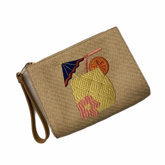 Talbots Handbags - Talbots Straw Zipper Wristlet Tropical Drink